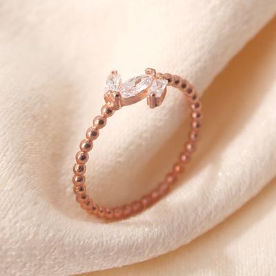 Baget Taşlı Gümüş Eklem Yüzüğü