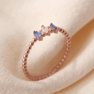 Mavi Baget Taşlı Gümüş Eklem Yüzüğü