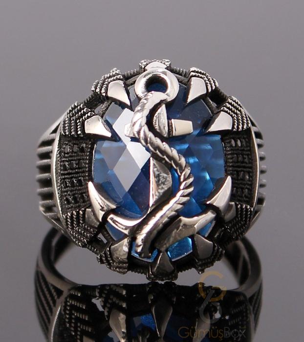 Mavi Taşlı Çapalı Gümüş Erkek Yüzük