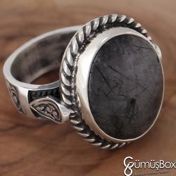 Özel Tasarım Gümüş İşlemeli Siyah Rutil Kuvars Taşlı Gümüş Erkek Yüzük - Thumbnail