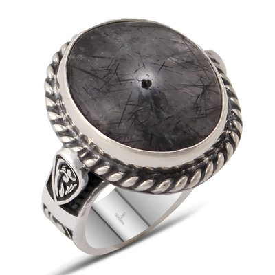 Özel Tasarım Gümüş İşlemeli Siyah Rutil Kuvars Taşlı Gümüş Erkek Yüzük
