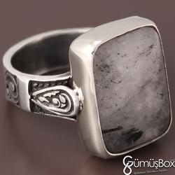 Özel Tasarım Gümüş İşlemeli Siyah Rutil Kuvars Taşlı Gümüş Yüzük - Thumbnail