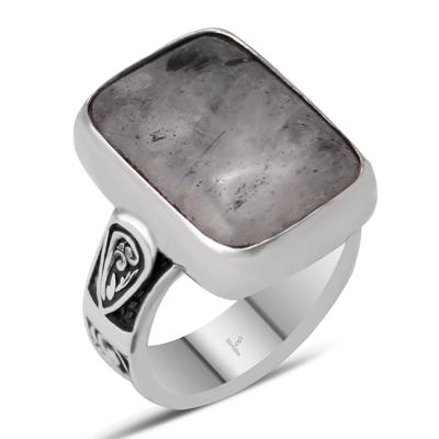 Özel Tasarım Gümüş İşlemeli Siyah Rutil Kuvars Taşlı Gümüş Yüzük