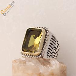 Özel Tasarım Octagon Kesim Renk Değiştiren Doğal Zultanit Taşlı Gümüş Yüzük - Thumbnail