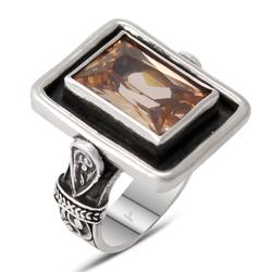 Özel Tasarım Sitrin Taşlı Gümüş Bayan Yüzük - Thumbnail