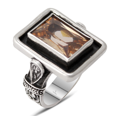 Özel Tasarım Sitrin Taşlı Gümüş Bayan Yüzük