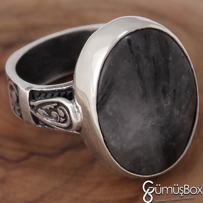 Özel Tasarım Siyah Rutil Kuvars Taşlı Gümüş Erkek Yüzük