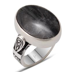 Özel Tasarım Siyah Rutil Kuvars Taşlı Gümüş Erkek Yüzük - Thumbnail