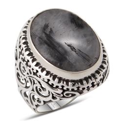Özel Tasarım Siyah Rutil Kuvars Taşlı Gümüş Yüzük - Thumbnail