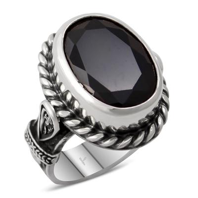 Özel Tasarım Siyah Zirkon Taşlı Gümüş Bayan Yüzük