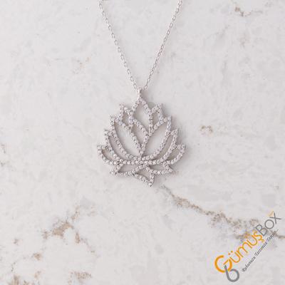 Özel Tasarım Zirkon Taşlı Lotus Çiçeği Modeli Gümüş Kolye