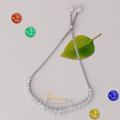 Özel Yuvarlak Tasarım Gümüş Renkli Zirkon Taş İşlemeli Bayan Asansör Bileklik