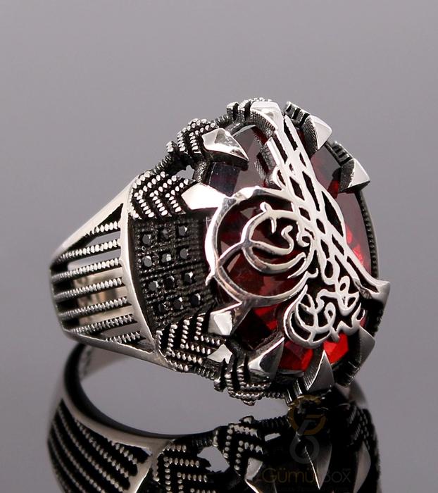 Pençe Modeli Tuğralı Kırmızı Taşlı Gümüş Yüzük