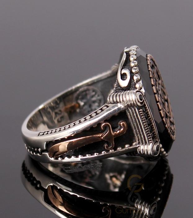 Siyah Çember Taşlı Gümüş Erkek Yüzük